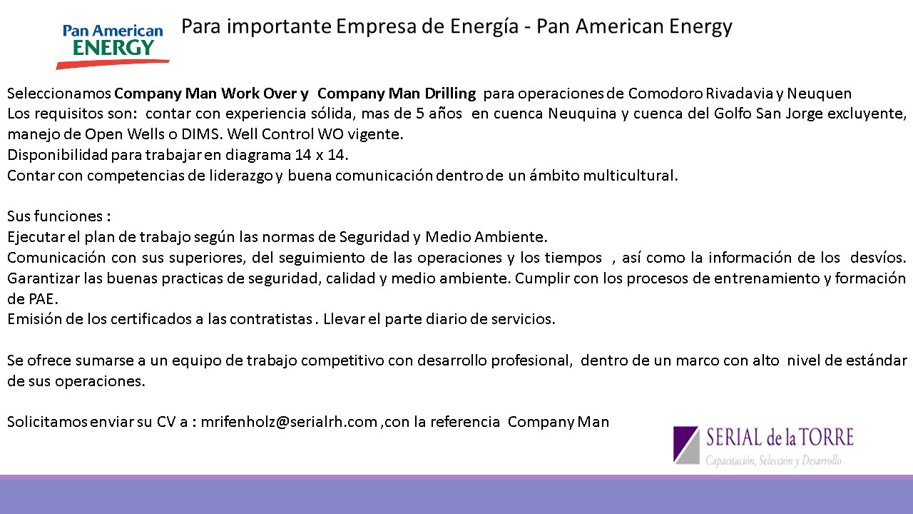 Company Man Perforación y Work Over